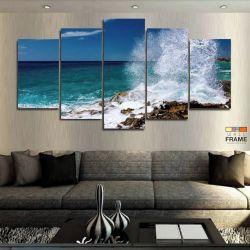 Quadros Decorativos Mar Praia 63x130cm em Tecido