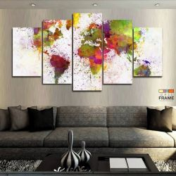 Quadros Decorativos Mapa Pintura Tinta 63x130 cm em Tecido