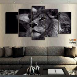 Quadros Decorativos Lobo Branco 67x130cm em Tecido