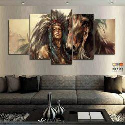 Quadros Decorativos India Cavalo 63x130cm em Tecido