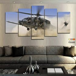 Quadros Decorativos Helicóptero Guerra 63x130cm em Tecido