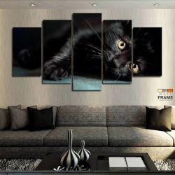 Quadros Decorativos Gato Preto 63x130cm em Tecido