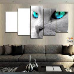Quadros Decorativos Gato Branco 63x130cm em Tecido