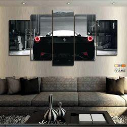 Quadros Decorativos Ferrari Preta 63x130cm em Tecido