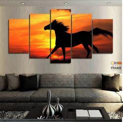 Quadros Decorativos Cavalos Sol 63x130cm em Tecido
