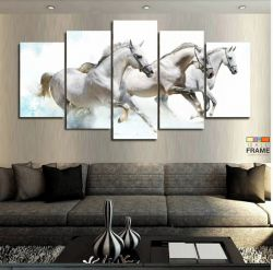Quadros Decorativos Cavalos Brancos 63x130cm em Tecido