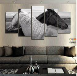 Quadros Decorativos Cavalo Pretobranco 63x130 cm tem Tecido