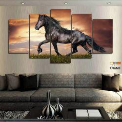 Quadros Decorativos Cavalo Negro 63x130cm em Tecido