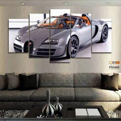 Quadros Decorativos Carros Bugati 63x130 cm em Tecido