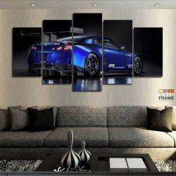 Quadros Decorativos Carro Skyline Azul 63x130 cm em Tecido