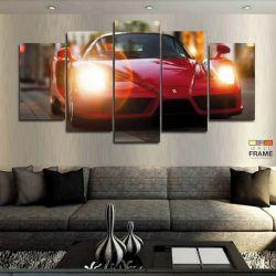 Quadros Decorativos Carro Ferrari Verm 63x130 cm em Tecido