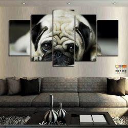 Quadros Decorativos Cachorro Pug 63x130 cm em Tecido