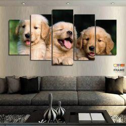 Quadros Decorativos Cachorro Filhotes 63x130 cm em Tecido