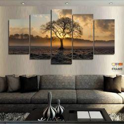 Quadros Decorativos Arvore Por Do Sol 63x130 cm em Tecido