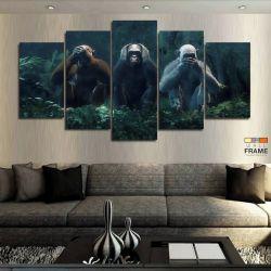 Quadros Decorativos 3 Macacos Sabios 63x130 cm em Tecido