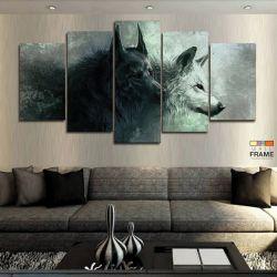 Quadros Decorativos 2 Lobo 63x130 cm em Tecido