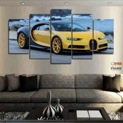 Quadros Carros Bugatti Amarelo 63x130 cm em Tecido