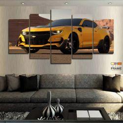 Quadros Camaro Amarelo Transformers 63x130 cm em Tecido