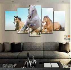Quadro 3 Cavalos 63x130 cm 5 peças em Tecido