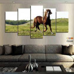 Quadro Decorativo Cavalo Fazenda 63x130 cm em Tecido