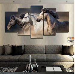 Quadro Decorativo 3 Cavalos 63x130 cm em tecido