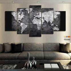 Quadros Mapa Mundi 63x130 cm  em Tecido
