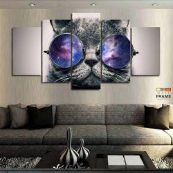 Quadro Decorativo Gato Psicodélico 129x63 cm em Tecido