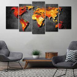 Quadro Decorativo Mapa Mundi Black 5 peças 129x63 em Tecido