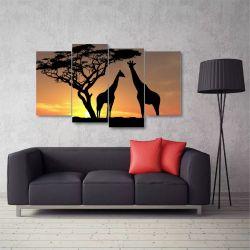 Quadro Decorativo África Paisagens Em Tecido 4 Peças 140X80 CM