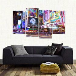 Quadro Times Square Paisagem Noturna Em Tecido 4 Peças 140 x 80 cm