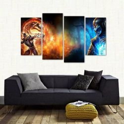 Quadro Scorpion E Sub Zero Mortal Kombat Em Tecido 4 Peças 140 x 80 cm