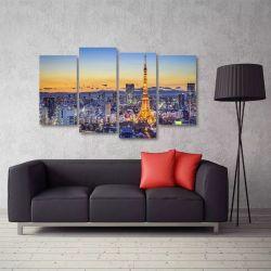 Quadro Paisagem Paris Torre Eiffel Mosaico Em Tecido 4 Peça 140 x 80 cm