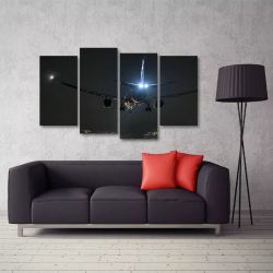 Quadro Paisagem Noturna Avião Mosaico Em Tecido 4 Peças 140 x 80 cm