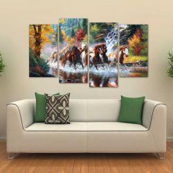 Quadro Paisagem Manada De Cavalos Sala Em Tecido 4 Peças 140 x 80 cm