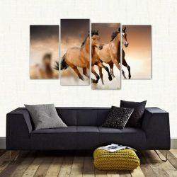 Quadro Paisagem Manada De Cavalos Mosaico Em Tecido 4 Peças 140 x 80 cm