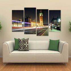 Quadro Paisagem Londres Big Ben Mosaico Em Tecido 4 Peças 140 x 80 cm