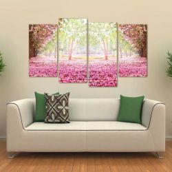 Quadro Paisagem Flores Rosas Sala Mosaico Em Tecido 4 Peças 140 x 80 cm
