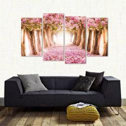 Quadro Paisagem Flores Rosa Mosaico Em Tecido 4 Peças 1 140 x 80 cm