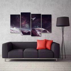 Quadro Paisagem Espaço Universo Escritório Em Tecido 4 Peças 140 x 80 cm