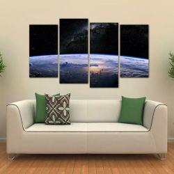 Quadro Paisagem Da Terra Vista Do Espaço Em Tecido 4 Peças 1 140 x 80 cm