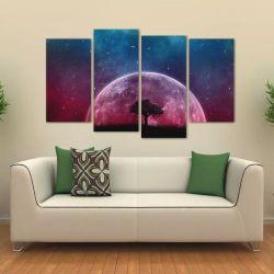 Quadro Paisagem Da Lua Sala Escritório Em Tecido 4 Peças 1 140 x 80 cm