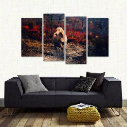 Quadro Paisagem Cavalo Morrom Mosaico Em Tecido 4 Peças 1 140 x 80 cm