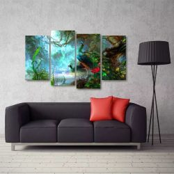 Quadro Paisagem Artístico Pavão Sala Em Tecido 4 Peças 1 140 x 80 cm