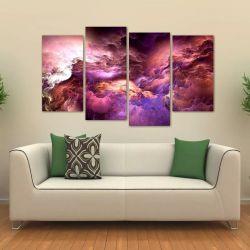 Quadro Nuvem Roxa Sala Escritório Em Tecido 4 Peças 1 140 x 80 cm