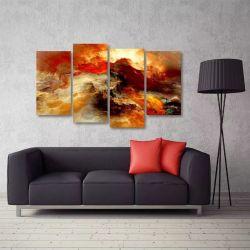 Quadro Nuvem Colorida Sala Escritório Em Tecido 4 Peças 1 140 x 80 cm