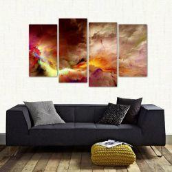 Quadro Nuvem Branca Artístico Sala Em Tecido 4 Peças 1 140 x 80 cm