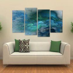 Quadro Nuvem Azul Sala Escritório Em Tecido 4 Peças 1 140 x 80 cm