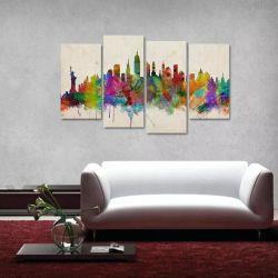 Quadro Nova York Decorativo Colorful Em Tecido 4 Peças 1 140 x 80 cm