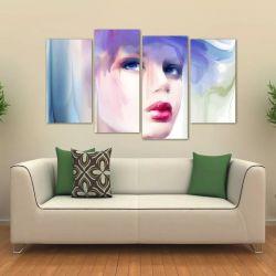 Quadro Mulher Abstrato Sala Mosaico Em Tecido 4 Peças 1 140 x 80 cm
