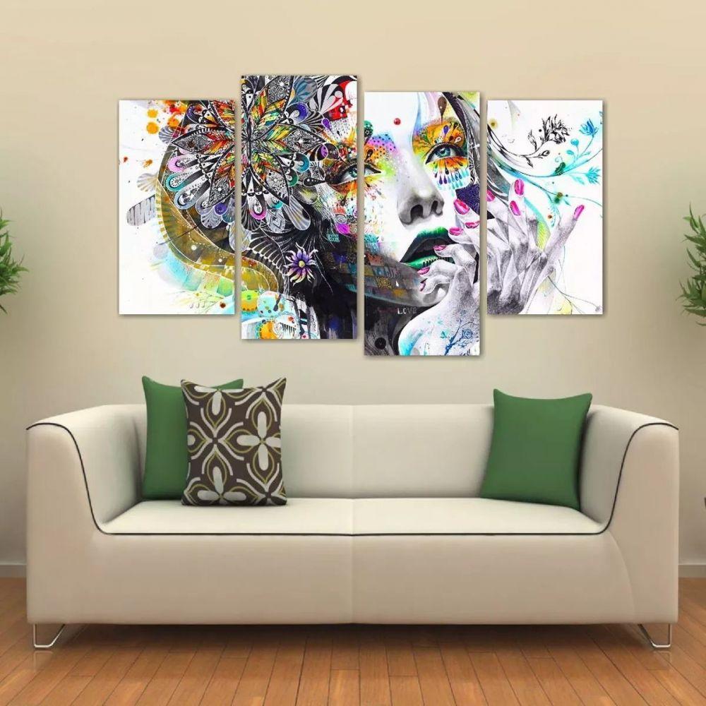 457b50843 Quadro Mulher Abstrato Sala Escritório Em Tecido 4 Peças 140 x 80 cm